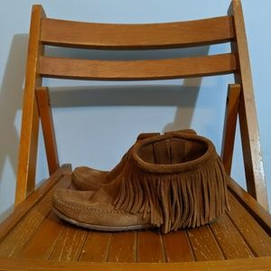 Minnetonka moccasins - ankle boots with fringe!
